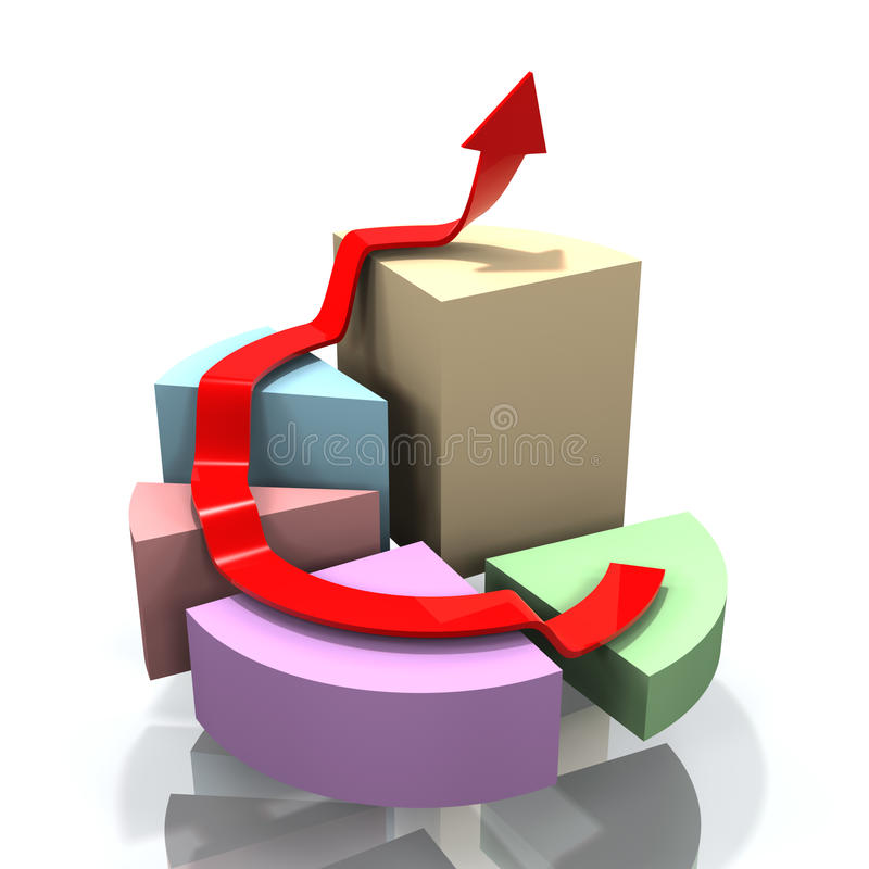 3D pie chart with arrow stock illustration