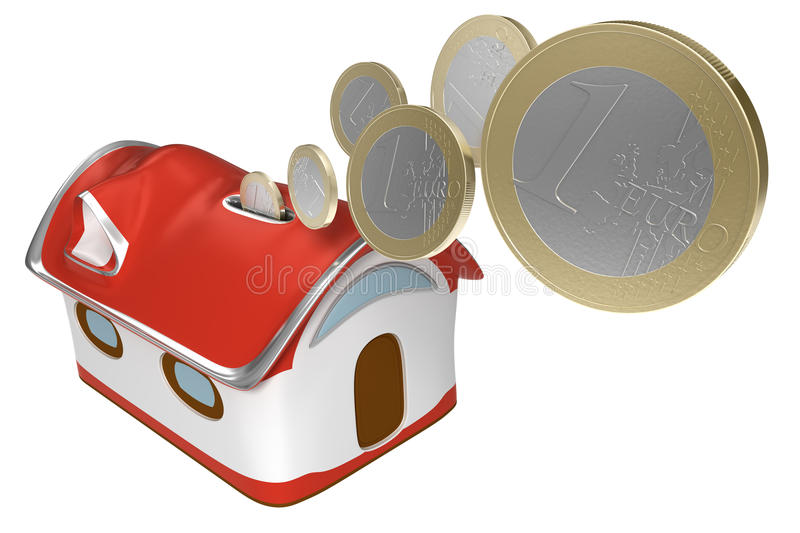 Download 3d Piggybank House With Euro Coins Isolated Icon Stock Illustration - Image: 13597995