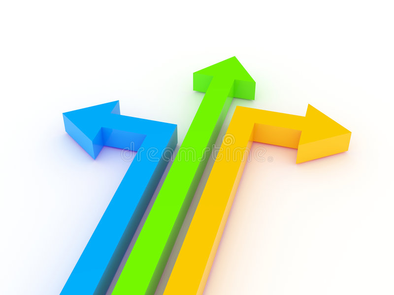3d pijlen in verschillende richtingen stock illustratie