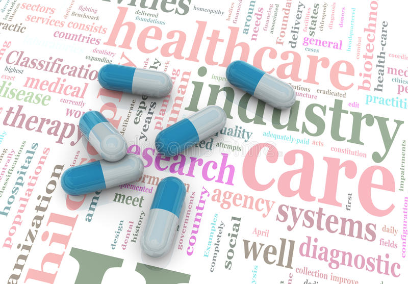 Download 3d Pills On Wordcloud Of Healthcare. Stock Illustration - Image: 20122409