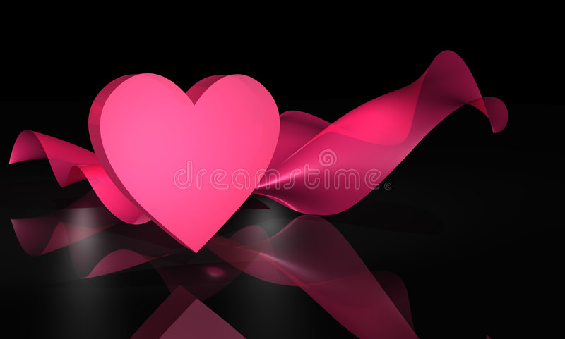 3D Pink Heart and Fabric on Black vector illustration