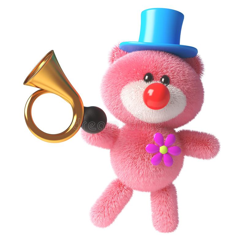Free 3d Pink Teddy Bear With Soft Fluffy Fur Dressed As A Clown With A Red Nose And Old Car Horn, 3d Illustration Royalty Free Stock Photography - 158829617