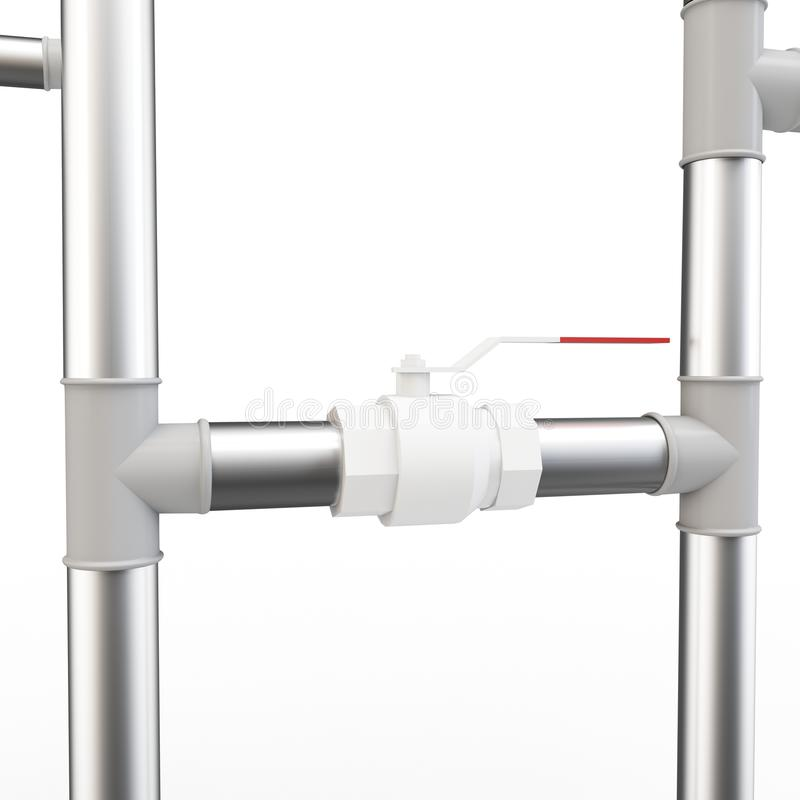 3d pipe system and valve stock illustration