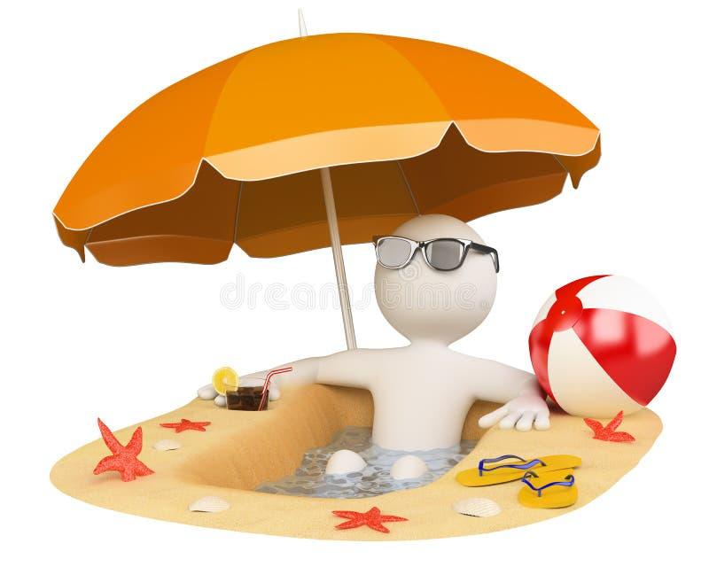 3d plaży ludzie lato biel ilustracja wektor