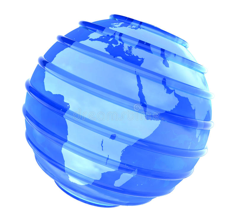 3D Planet glassy Earth focused in Africa stock photo