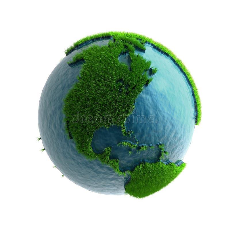 3D planeta verde América libre illustration