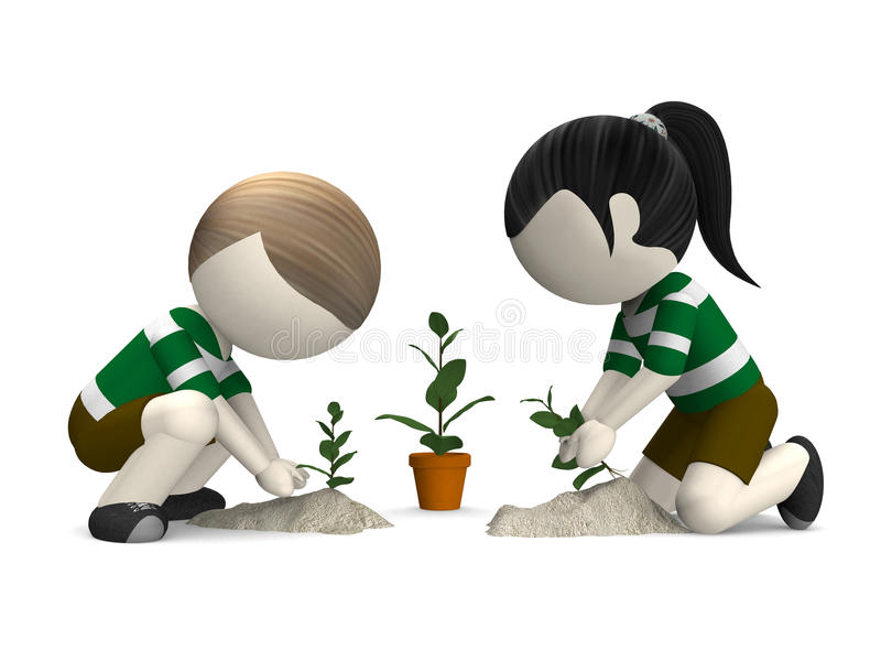 Download 3D Planting A Tree Stock Photo - Image: 25583190