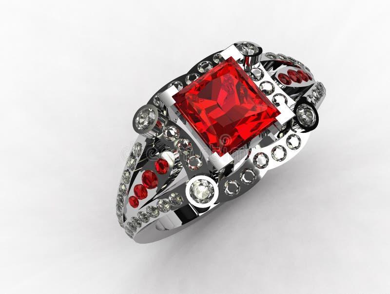 3D - Platinum princess cut ruby engagement ring. Rendering stock illustration