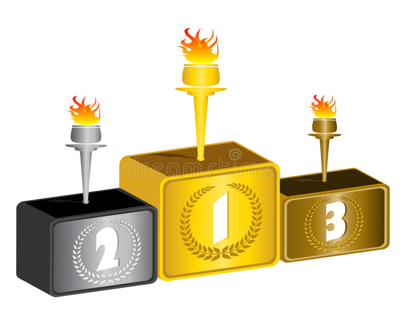 3d podium. The olympic podium with torch vector Illustrations vector illustration