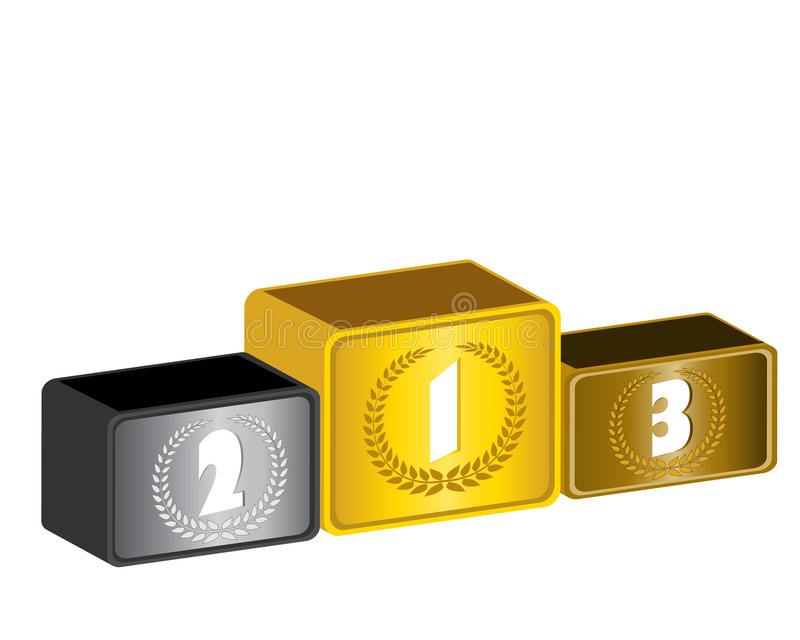 3d podium. The olympic podium with torch vector Illustrations royalty free illustration