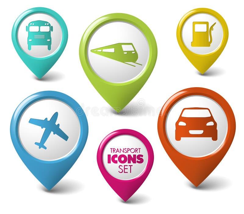 3d pointerów transport setu transport royalty ilustracja