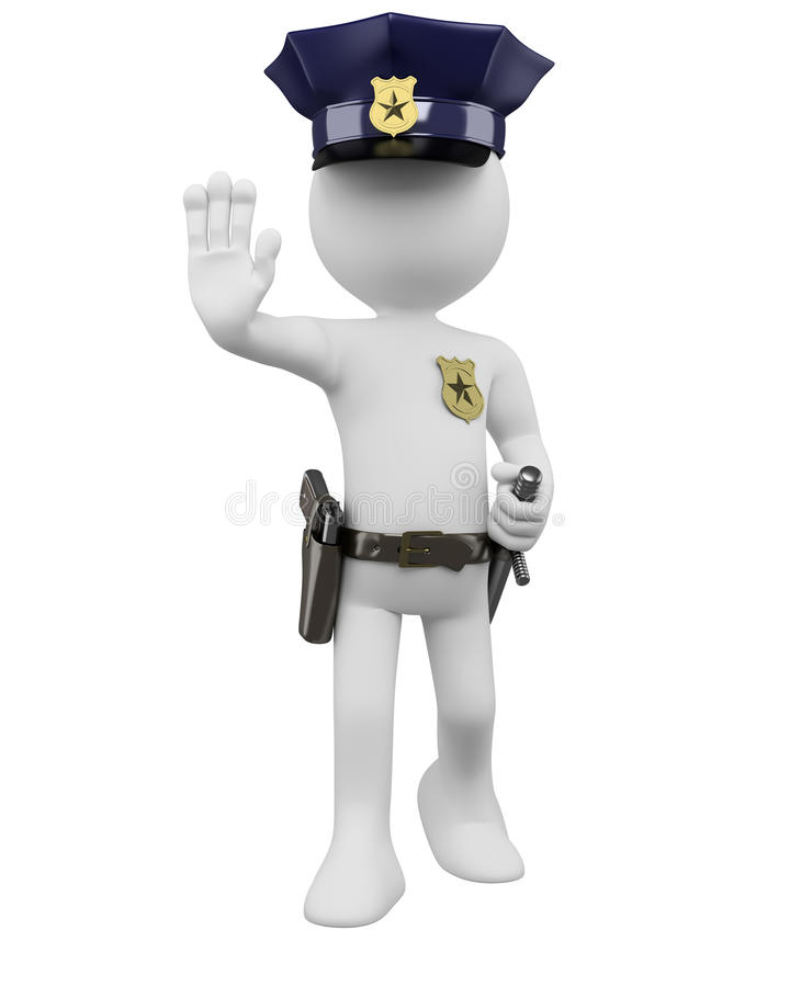 3D police with gun and nightstick ordering to stop royalty free illustration