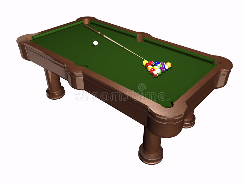 3D pool table on white. Background vector illustration