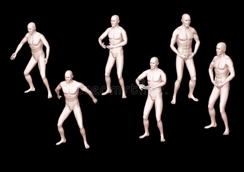 3D posities van de Chinese gymnastiek een chi kung vector illustratie