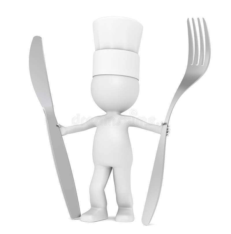3D pouco caráter humano o cozinheiro chefe ilustração stock