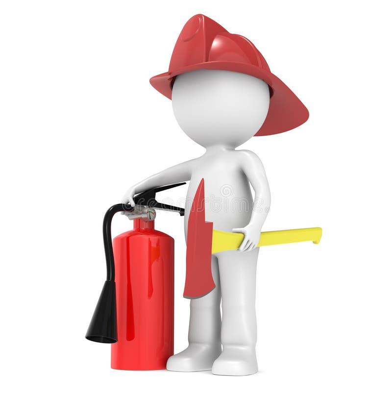 3D pouco caráter humano o lutador de incêndio ilustração stock