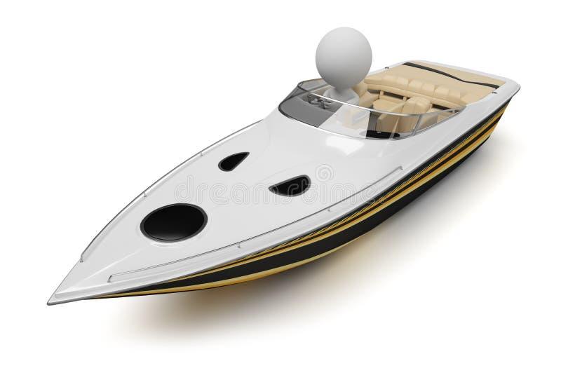 3d povos pequenos - barco ilustração royalty free