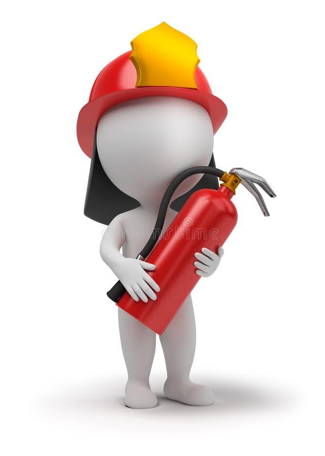3d povos pequenos - bombeiro ilustração royalty free