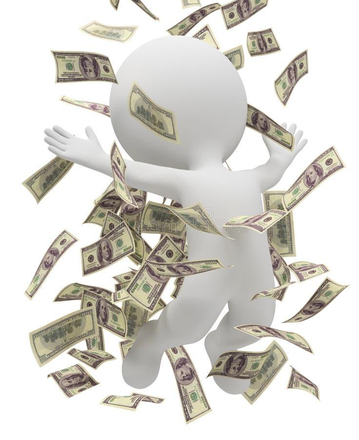 3d povos pequenos - chuva do dinheiro ilustração stock