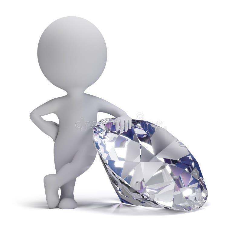 3d povos pequenos - diamante ilustração stock