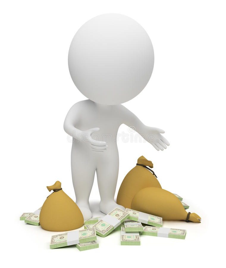 3d povos pequenos - dinheiro ilustração royalty free