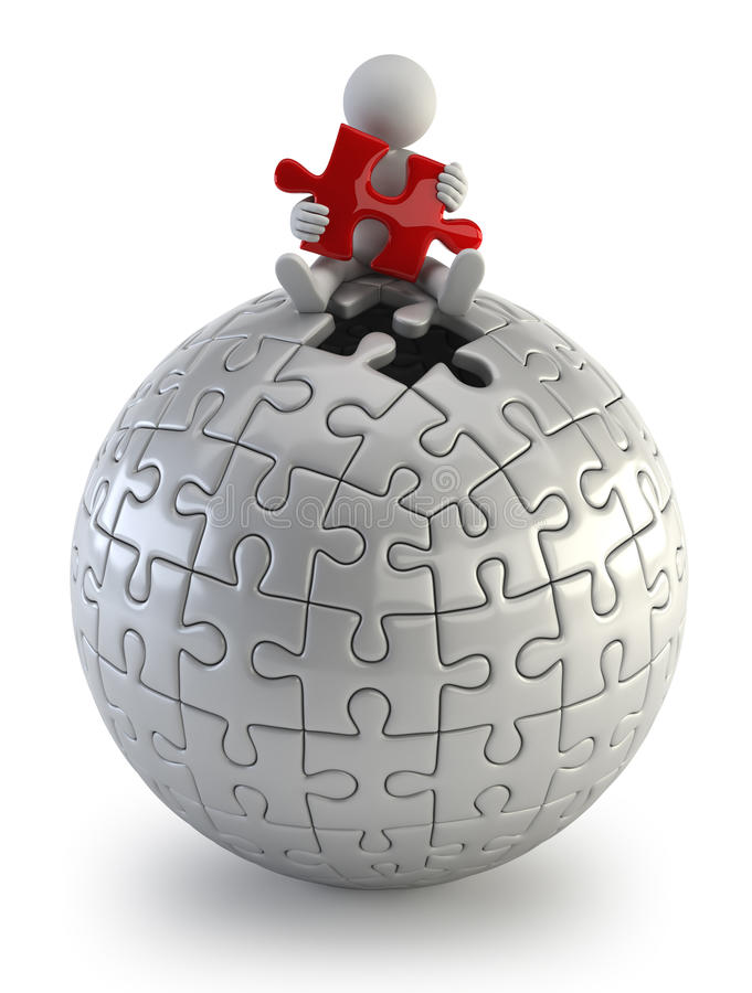 3d povos pequenos - esfera vermelha do enigma ilustração do vetor