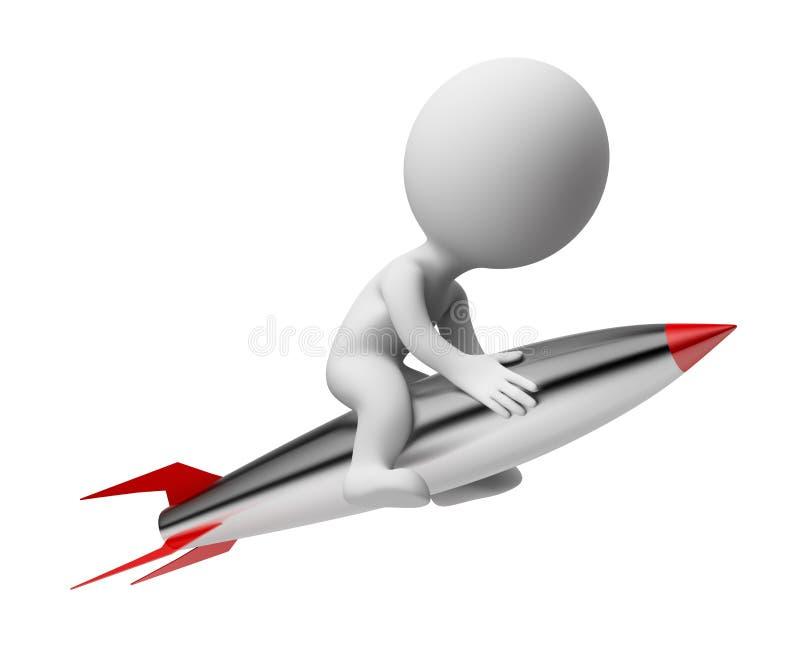 3d povos pequenos - foguete ilustração stock