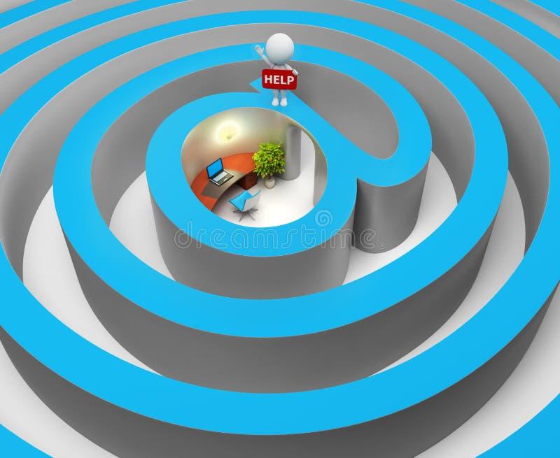 3d povos pequenos - Internet um labirinto ilustração stock