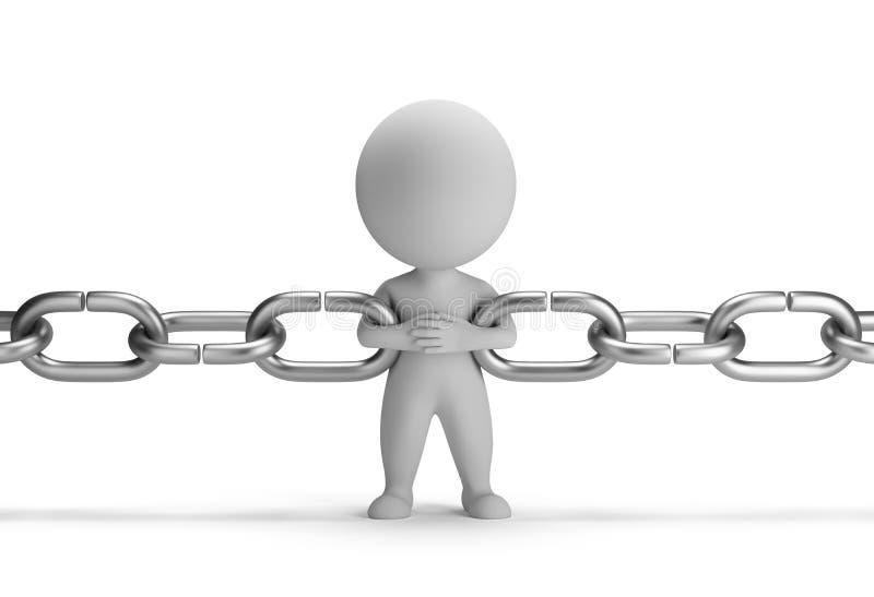 3d povos pequenos - ligação chain ilustração stock