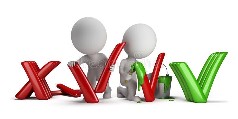 3d povos pequenos - negativo ao positivo ilustração do vetor
