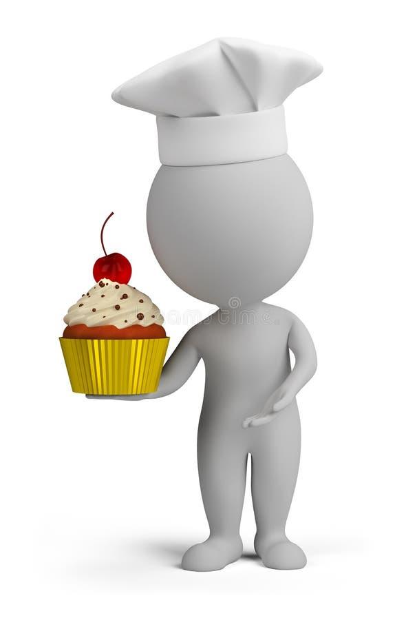 3d povos pequenos - pasteleiro com queque ilustração stock