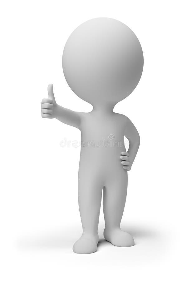 3d povos pequenos - pose positivo ilustração stock