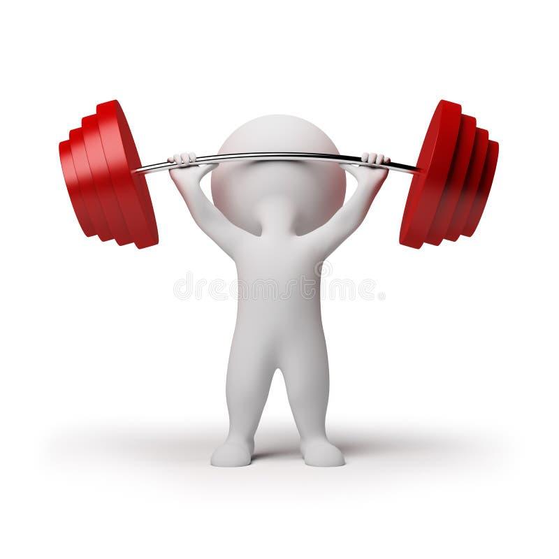 3d povos pequenos - weightlifting ilustração do vetor