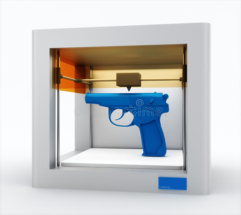 3d printer, printing gun vector illustration
