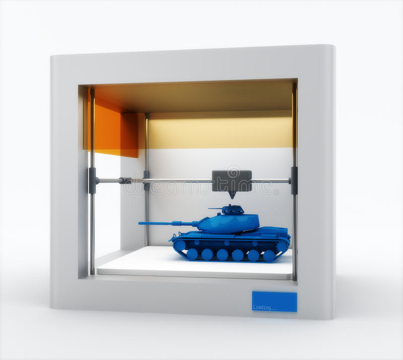 3d printer, printing tank vector illustration