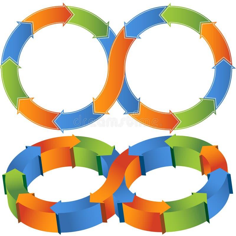 3D Process Diagrams. Set of process chevron diagrams in 3D stock illustration