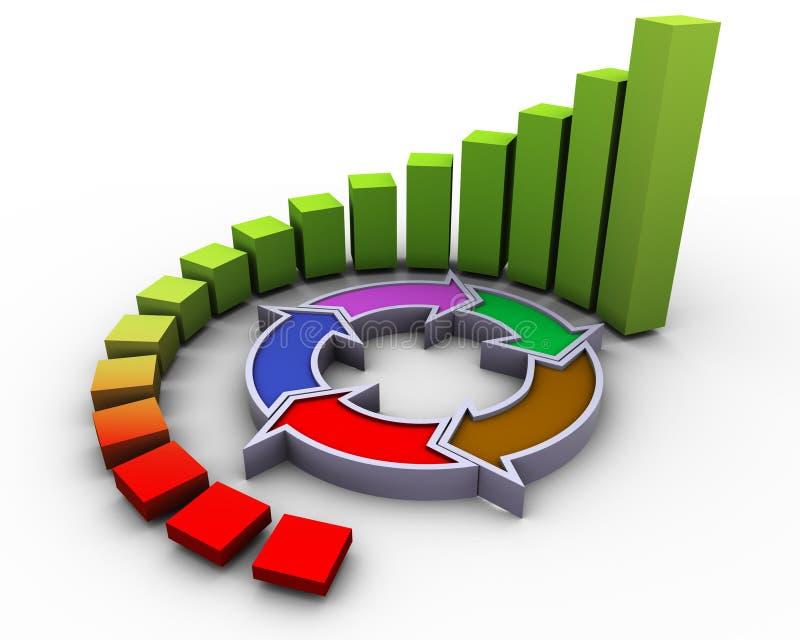 3d progress flow chart. 3d circular progress bars with flow diagram stock illustration