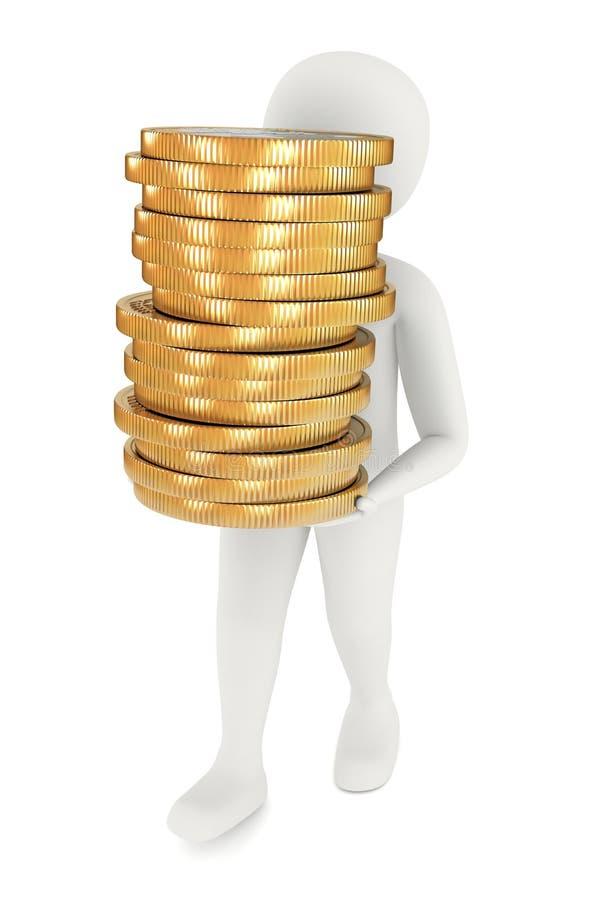 3d przewożenia monet mężczyzna ilustracja wektor