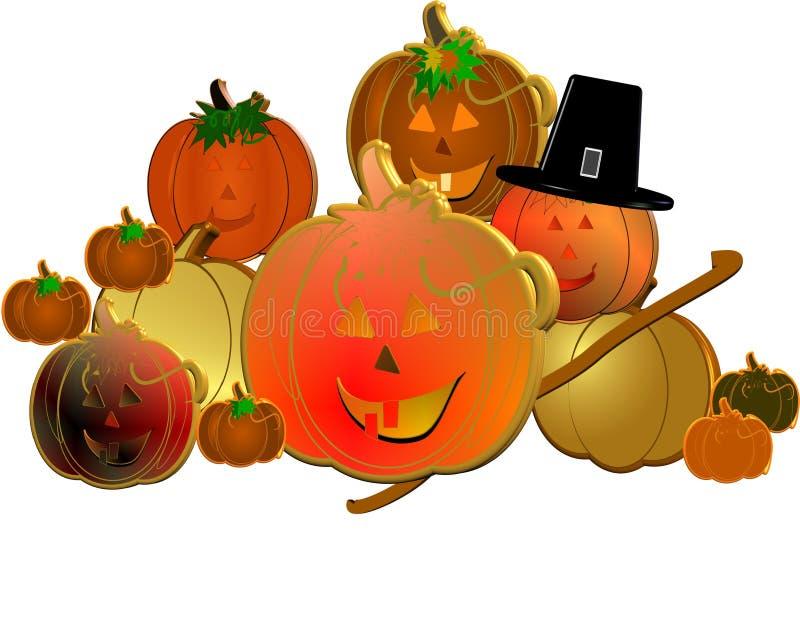 3d pumpkins with pilgrims hat royalty free illustration
