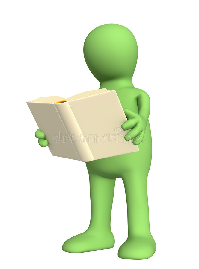 3d puppet with the book in hands royalty free illustration