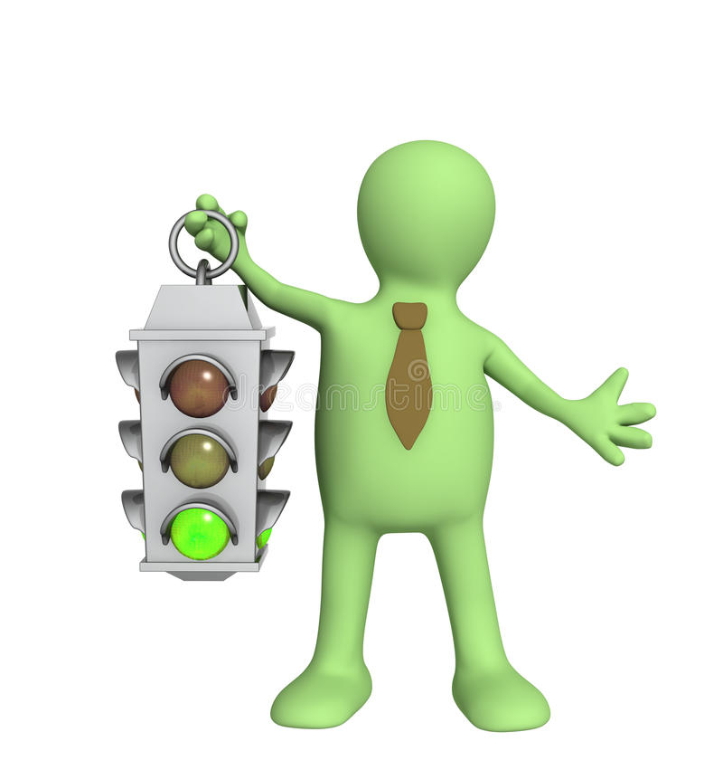 Download 3d Puppet - Businessman With Traffic-light Stock Illustration - Image: 9603209