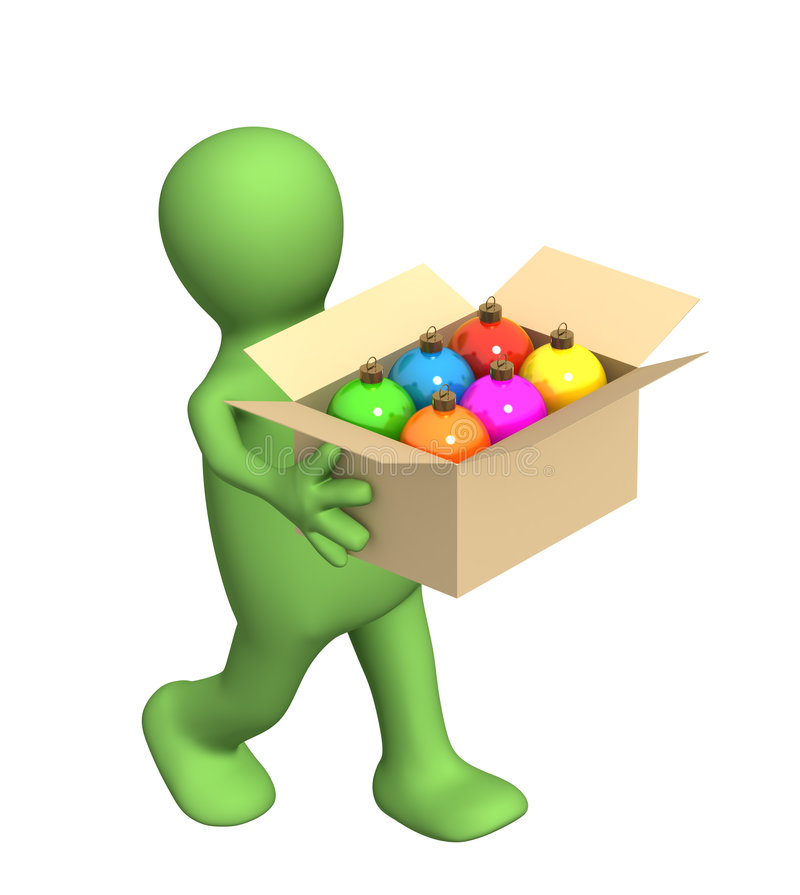 3d puppet, carrying a box with christmas balls stock illustration
