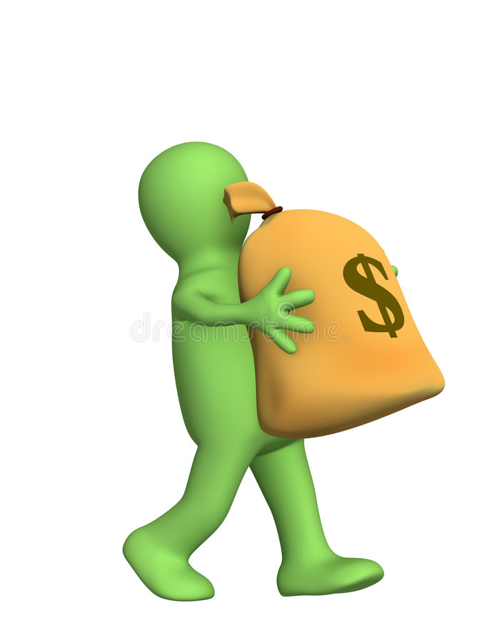 3d puppet, carrying in hands the big bag of money royalty free illustration