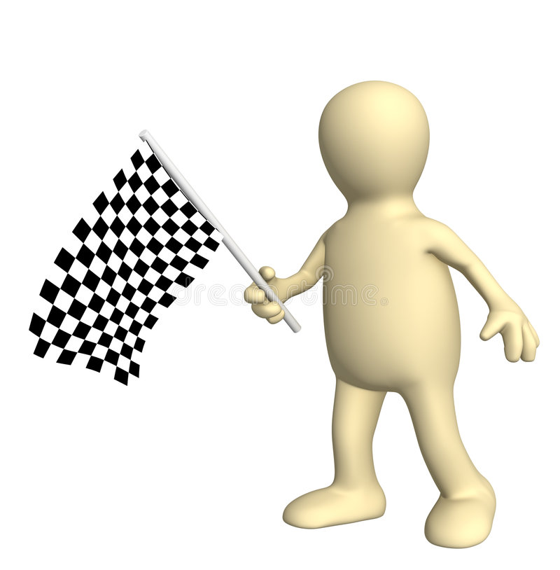 3d Puppet With Checkered Flag Stock Images