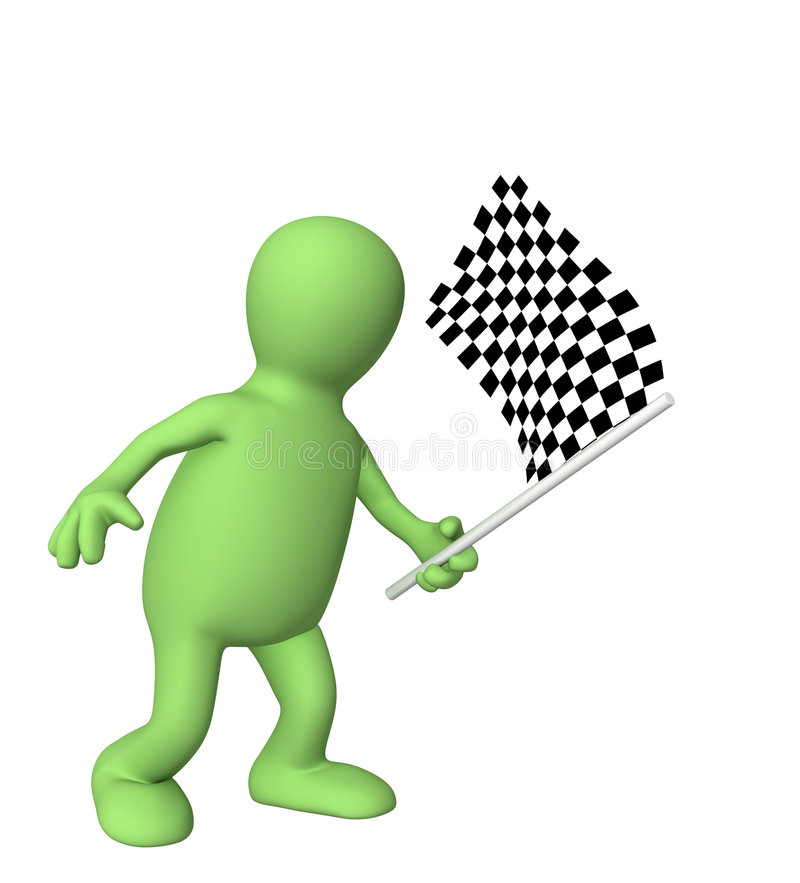 3d puppet with checkered flag stock illustration