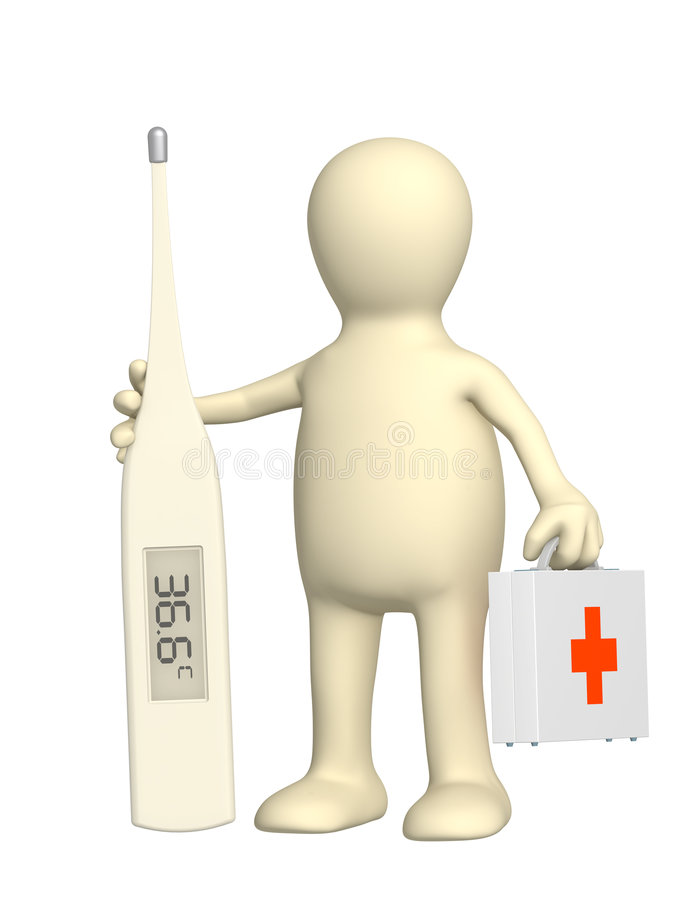 3d Puppet Doctor With A Thermometer Royalty Free Stock Photo