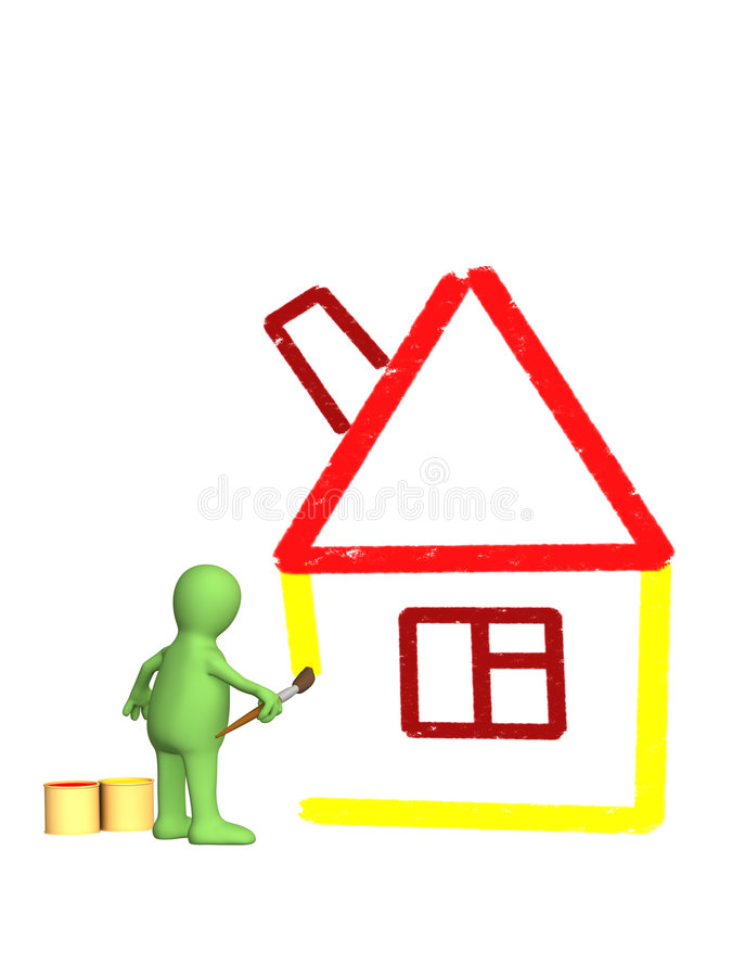 Download 3d Puppet, Drawing By A Brush Sketch Of A House Stock Illustration - Illustration: 4612069