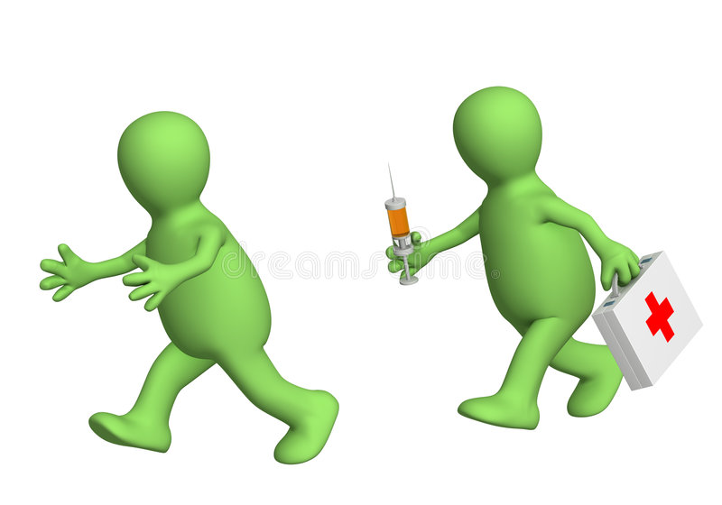 3d puppet, escaping from the doctor with a syringe vector illustration