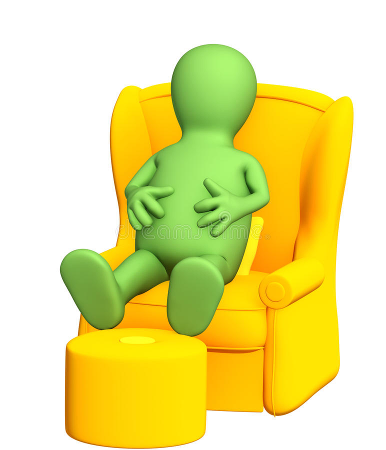 Download 3d Puppet, Having A Rest In A Soft Armchair Stock Illustration - Image: 16985050