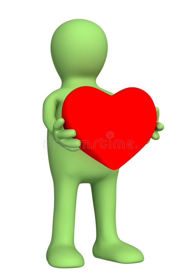Download 3d Puppet, Holding In Hands Red Heart Stock Images - Image: 7310054